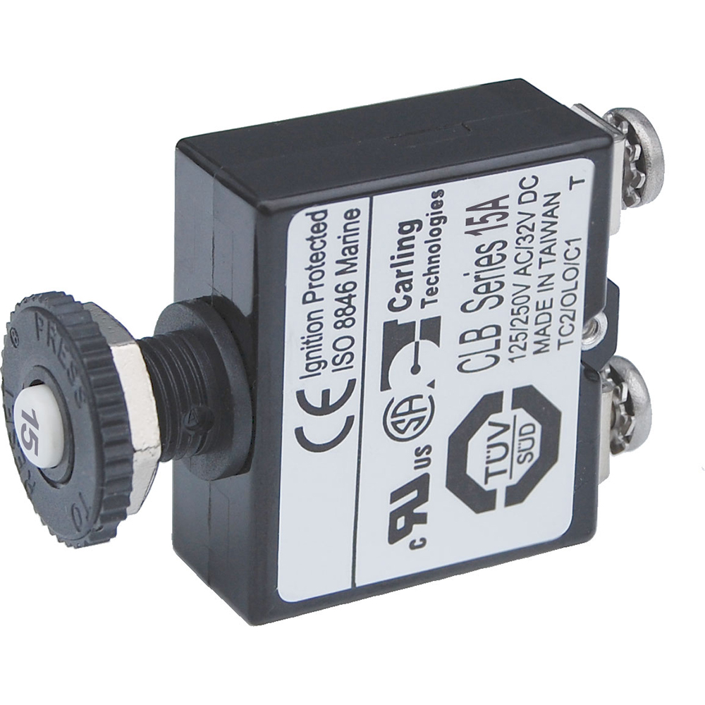 Circuit Breaker, Push Button, 15A