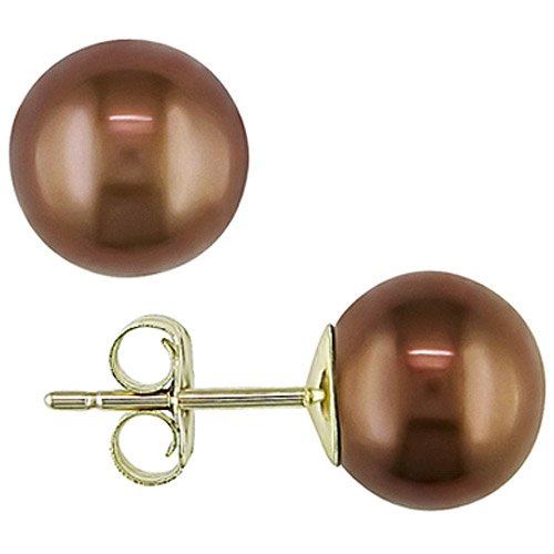 10kt Yellow 8-8.5mm Freshwater Cultured Round Chocolate Pearl Stud Earrings