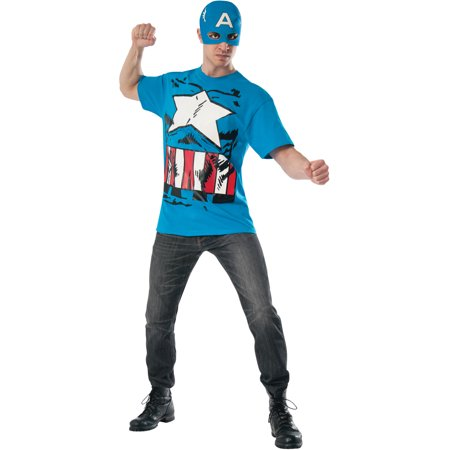 Adult Mens Marvel Vintage Comic Book Captain America Costume T-shirt Mask