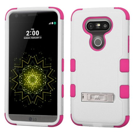Insten Hard Hybrid Rubber Coated Silicone Cover Case with stand For LG G5 - White/Pink - image 4 of 4