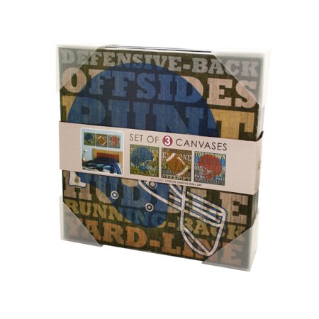 Football Canvas Wrapped Wall Art Set