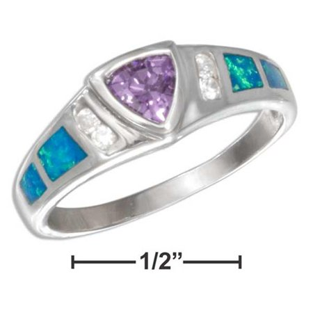 Trillion Lab (P-016925-06 6 in. Sterling Silver Purple Cubic Zirconia Trillion & Lab Created Opal Inlay Ring)
