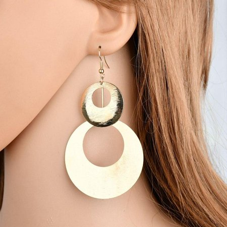 ON SALE - Dangling Double Disc Earrings in Gold or Silver Gold