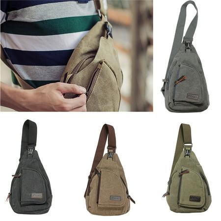 Men Women Canvas Sling Bag Chest Bag Casual Shoulder Bag