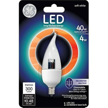 (GE 4.5 watt (40 watt Equivalent) Clear Bent Tip Decorative LED, 1 Pack)