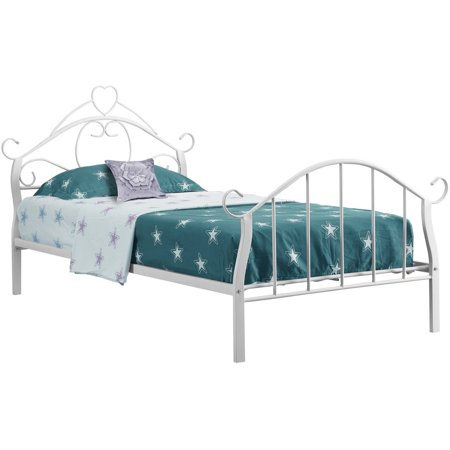 Monarch bed twin size white metal frame only for Twin size childrens bed frames
