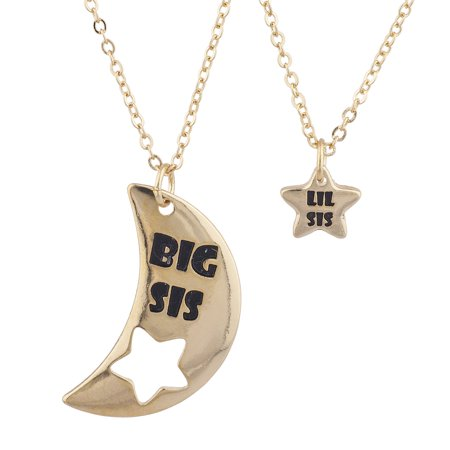 Lux Accessories Gold Tone Big Sis Lil Celestial Star Moon Charm Pendant Set - Gold Moon Charm
