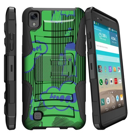 Coyote Rocket (LG K6P, LG X Power, LG F740L Miniturtle® Clip Armor Dual Layer Case Rugged Exterior with Built in Kickstand + Holster - Booming Rockets )