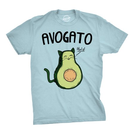Kermit Funny Face (Mens Avogato Funny T shirts Avocado Cat Tee Cute Cat Face Shirt Novelty T)