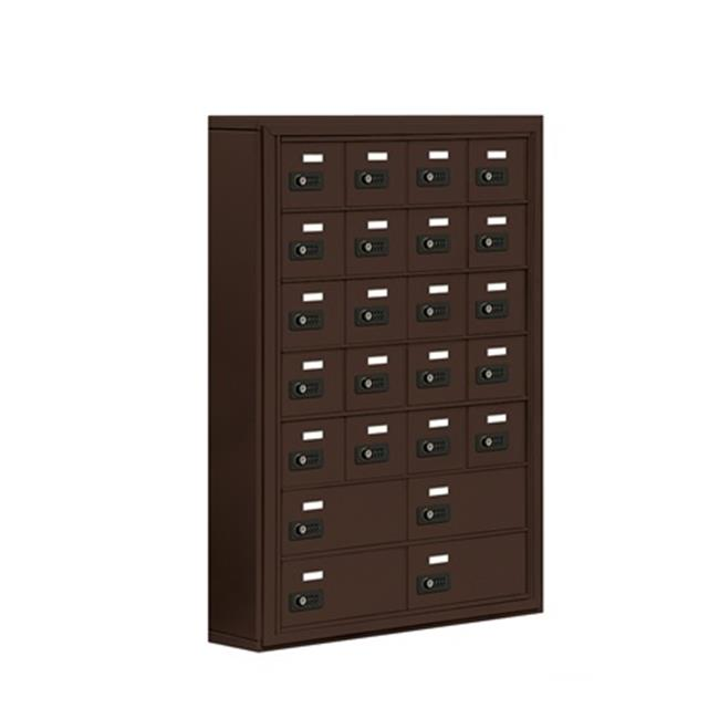 Salsbury  Cell Phone Storage Locker 7 Door High Unit - 5 Inch Deep Compartments - 20 A Doors And 4 B Doors - Bronze - Surface Mounted - Resettable Combination Locks
