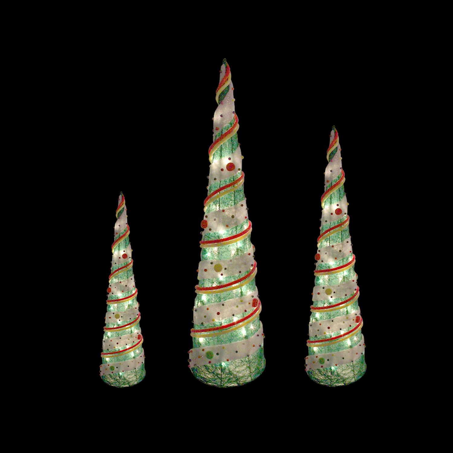 Set of 3 Green Sisal Candy Covered Cone Tree Lighted Christmas Outdoor Decorations