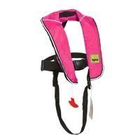 Premium Automatic/Manual Inflatable Life Jacket Lifejacket PFD Life Vest Inflate Survival Aid Lifesaving PFD for Children Youth Kids - Pink Color