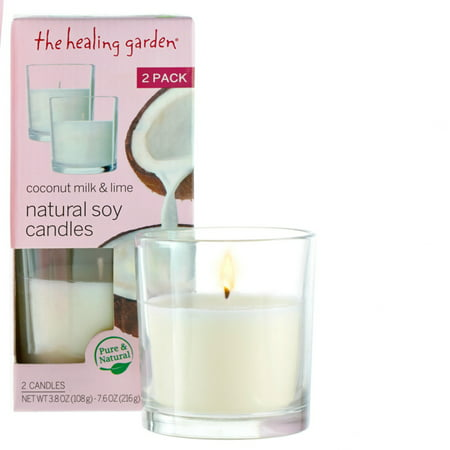 The Healing Garden Coconut Milk & Lime Natural Soy Candles, 3.8 oz, 2 ct