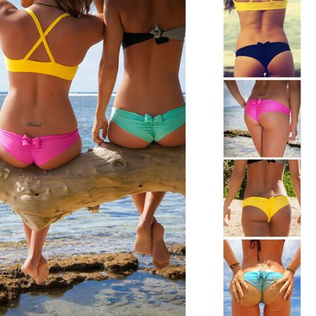 HOT Sexy Brazilian Women V Thong Cheeky Ruched Bow Bikini Bottom Swimwear Beachwear
