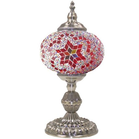 - Silver Fever Handcrafted Mosaic Turkish Lamp -Moroccan Glass - Table Desk Bedside Light- Bronze Base (Burgundy Star of David LG)