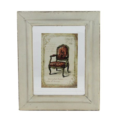 """7.25"""" x 6"""" Decorative Antique Style Beige and Red Victorian Chair Print Framed Wall Art - image 1 of 1"""