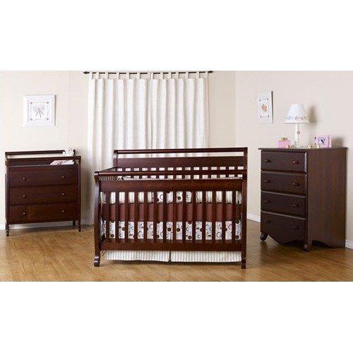 DaVinci Emily Three Piece Convertible Crib Nursery Set with Toddler Rail in Espresso