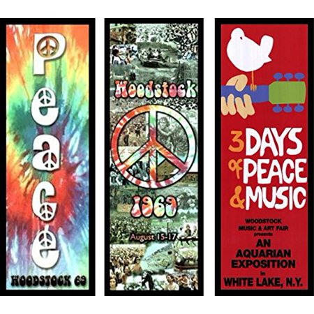 FRAMED 3 PACK Woodstock - 3 Days of Peace - Collage - Tie Die Sign 36x12 Art Print Poster Wall Decor Music Festival Photographic Collage - Red with White Dove and Guitar