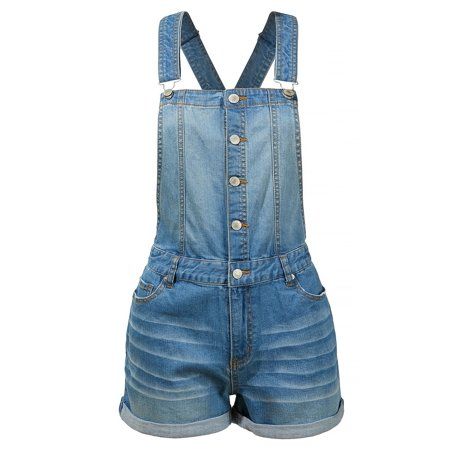Distressed Button Down Denim Overall Shorts (178 Mm Overall)