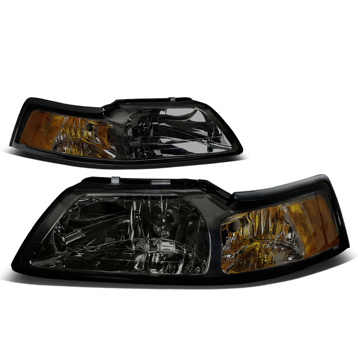 For 99-04 Ford Mustang OE Style Headlight Smoked Housing Amber Corner Headlamp 4 Gen 00 01 02 03 Left+Right