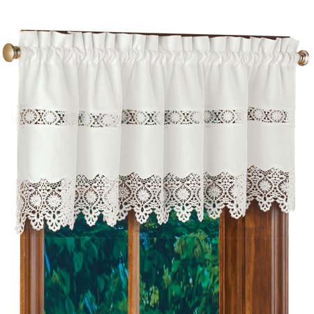 (Cynthia Embroidered White Lace Window Valance with Scalloped Edges - Scroll Design for Classic Look, Decorative Accent for Any Room in Home)