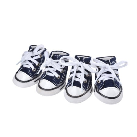 4Pcs Cute Puppy Pet Dog Sporty Shoes Lace up Canvas Dog Boots Nonslip Dog Booties Sneaker Teacup Chihuahua Yorkie for Small (Best Food For Teacup Yorkie)