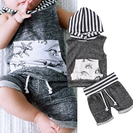 2pcs Newborn Toddler Dinosaur Print Baby Boys Hooded T-shirt Tops+Short Pants Trousers Outfit Kids Clothes Set - Boys Kids Outfit