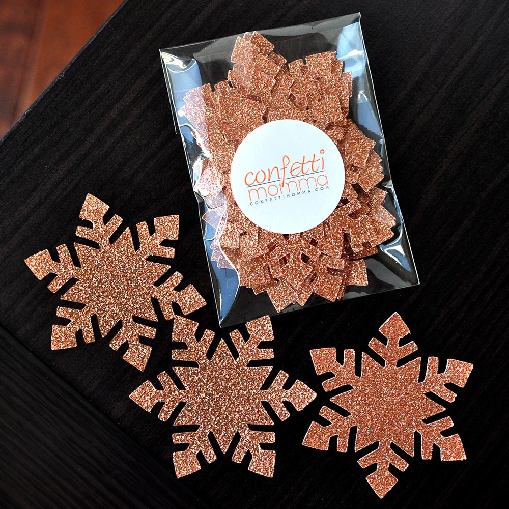 Winter Onederland Party Supplies. Large Snowflake Confetti 20CT. Rose Gold Snowflake Confetti.