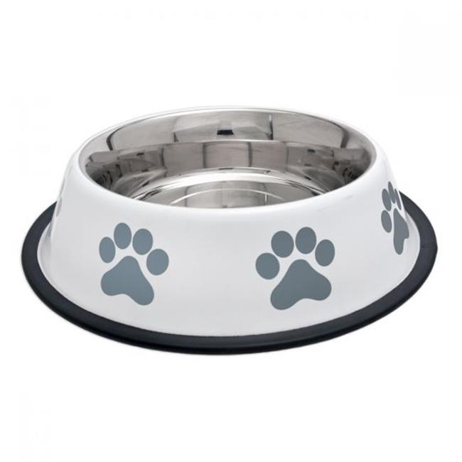 Products  Fashion Steel Bowl White With Grey Paws 32 oz.