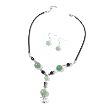 Green Aventurine Set (Green Aventurine Glass Black Oxidized Silvertone and Steel Earrings and Necklace Gift Set Size 18