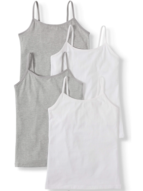 Wonder Nation Girls Cami, 4 Pack 100% Cotton Undershirt, Sizes XS - XL