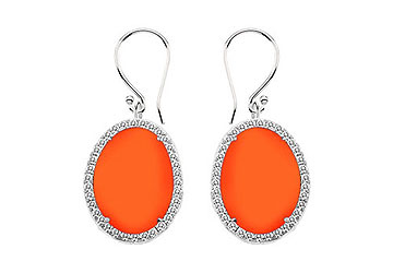 14K White Gold Orange Chalcedony and Diamond Earrings 31.00 CT TGW by Love Bright