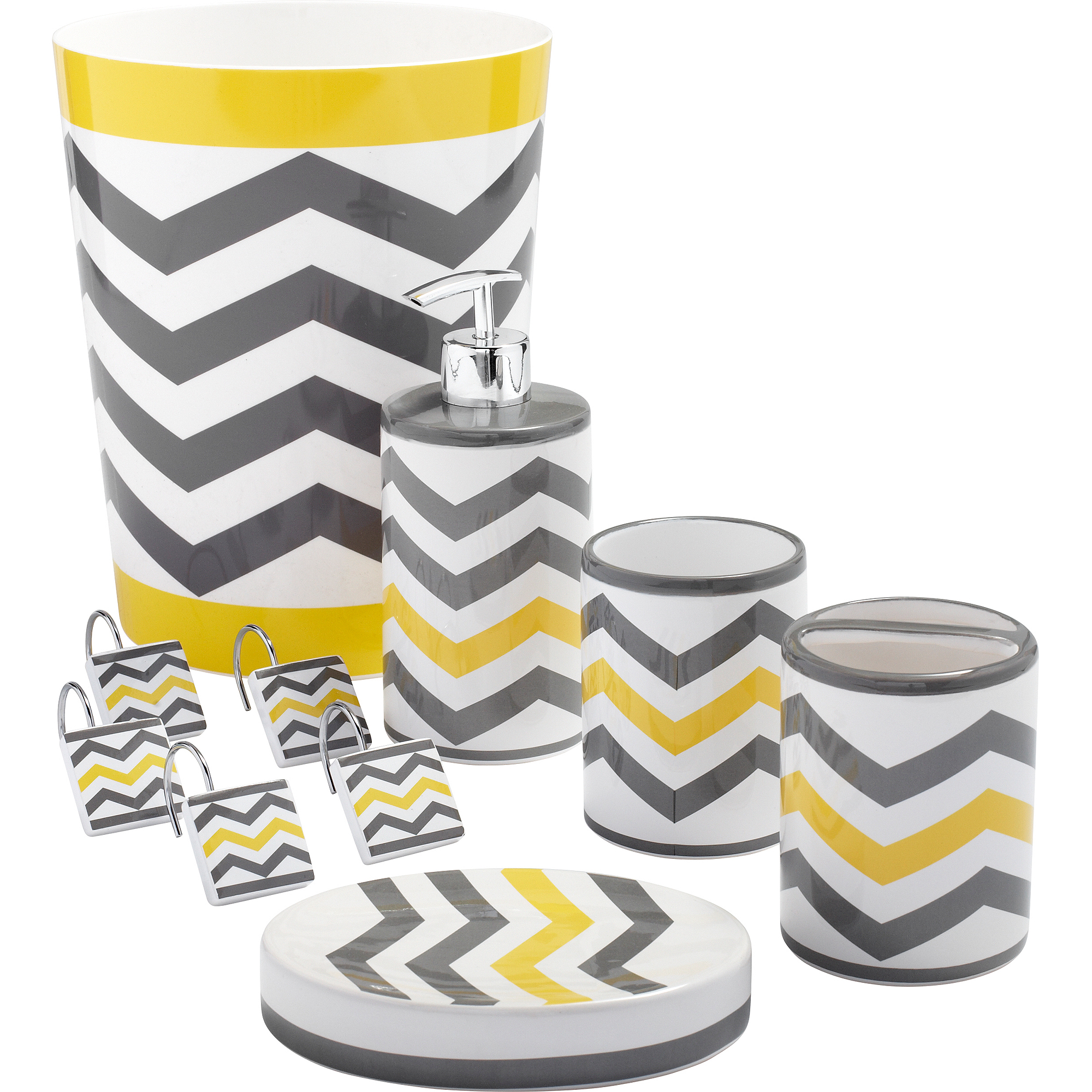 Chevron Shower Curtains mainstays chevron shower curtain hooks, yellow - walmart