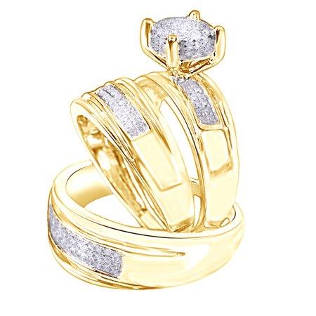White Natural Diamond Engagement & Wedding Trio Band Ring Set In 10k Yellow Gold (0.4 Cttw) (Gold Wedding Ring Sets)