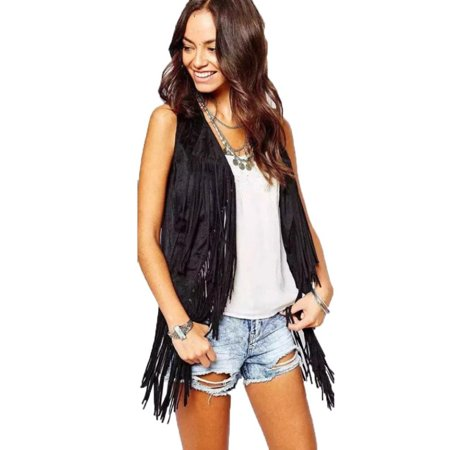 - Women Autumn Winter Sleeveless Tassel Fringed Vest Cardigan XL