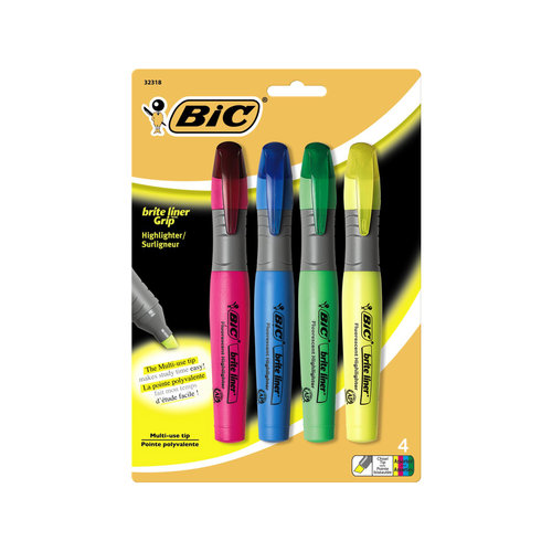 BIC Brite Liner Grip XL, Assorted Colors, 4pk