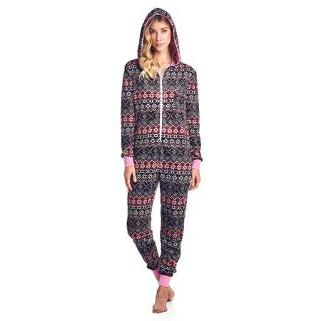 Ashford & Brooks Women's Mink Fleece Hooded One Piece Pajama Jumpsuit](Peace Fleece)