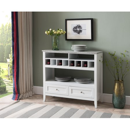 Gael White Wood Marble Contemporary 8 Bottle Wine Rack Sideboard Buffet Display Table With Storage