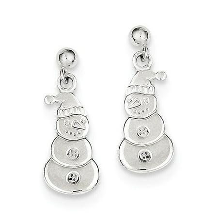 Sterling Snowman (Sterling Silver Polished Snowman Dangle Post Earrings (0.7IN x 0.3IN ) )