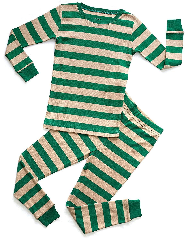 Leveret Organic Cotton Green/Beige 2 Piece Pajama Set 3 Years