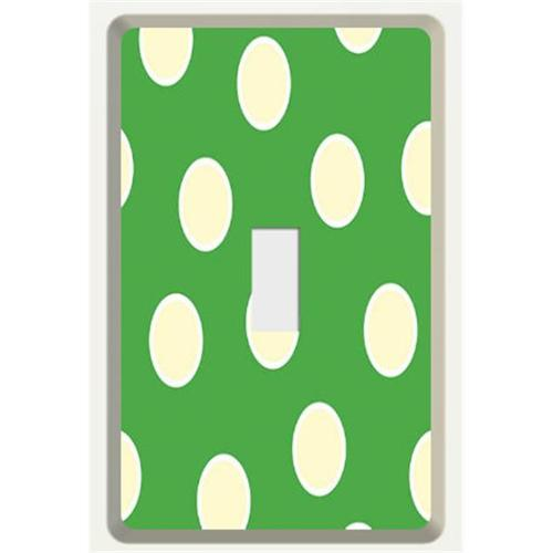New Face Socket Covers NFSC100STPG Tan Single Light Switch with Green Polka Dot Skin
