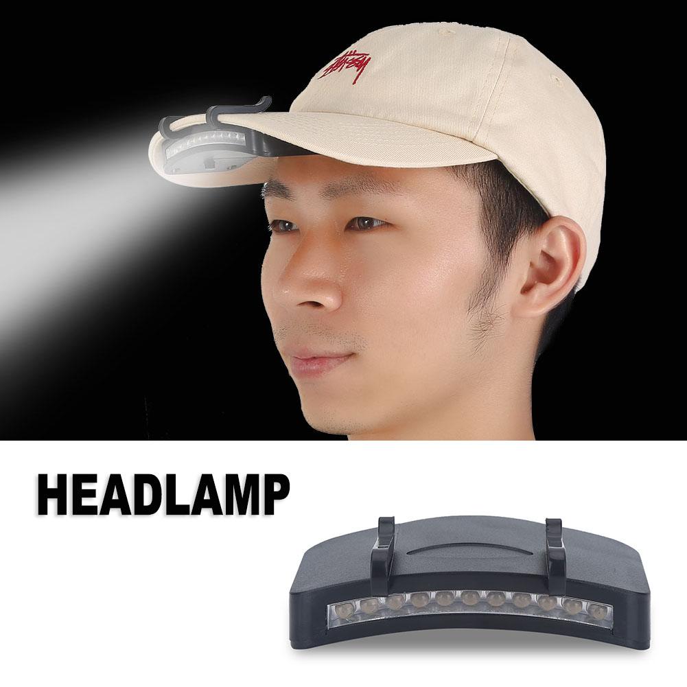 1pc 11 LED Cap Clip Head Lamp Light Hat HeadLamp For Outdoor Fishing Camping, Head Cap Light, Cap Light