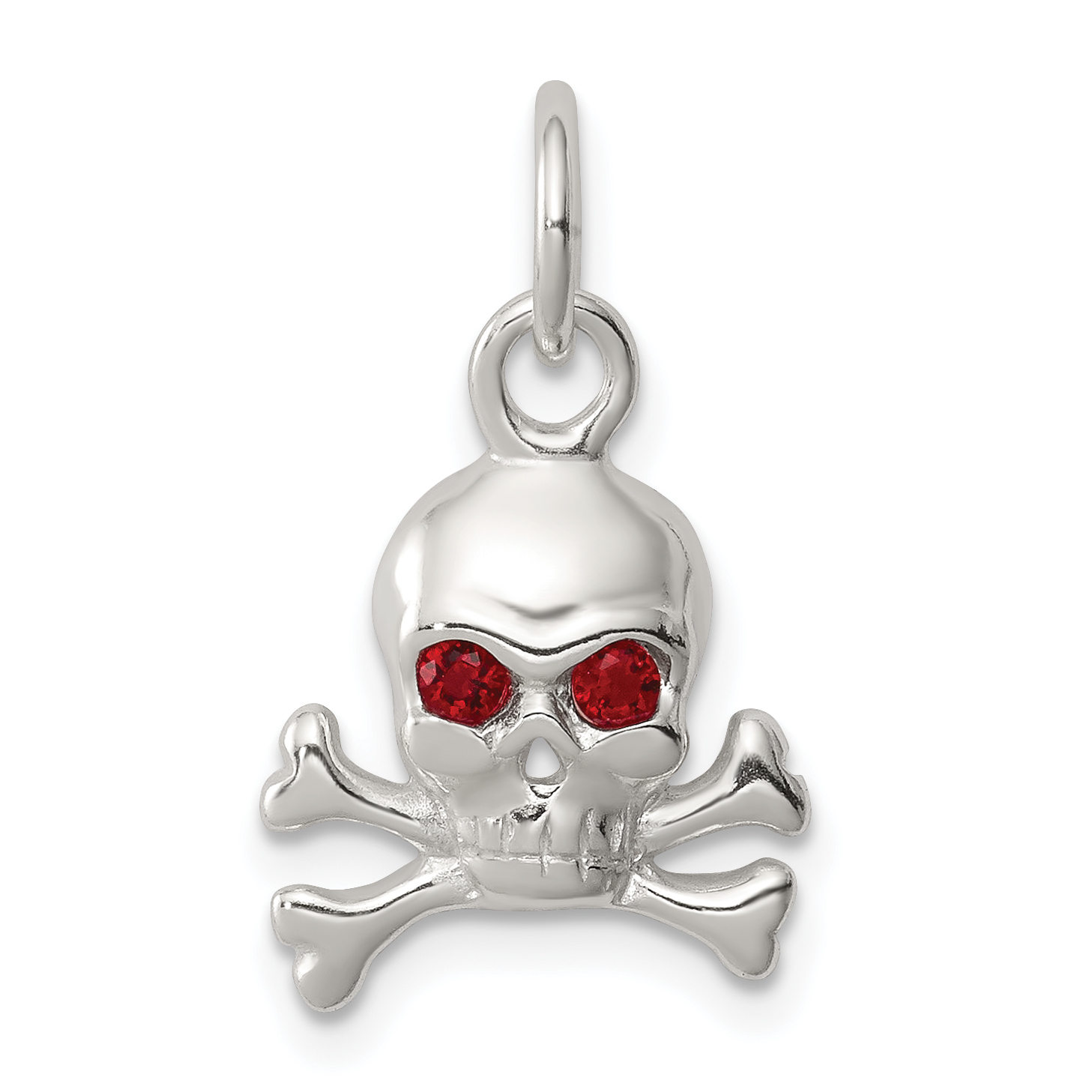 925 Sterling Silver Red Cubic Zirconia Cz Skull Pendant Charm Necklace Dagger Dragon Man Fine Jewelry Gift For Dad Mens For Him - image 2 of 2