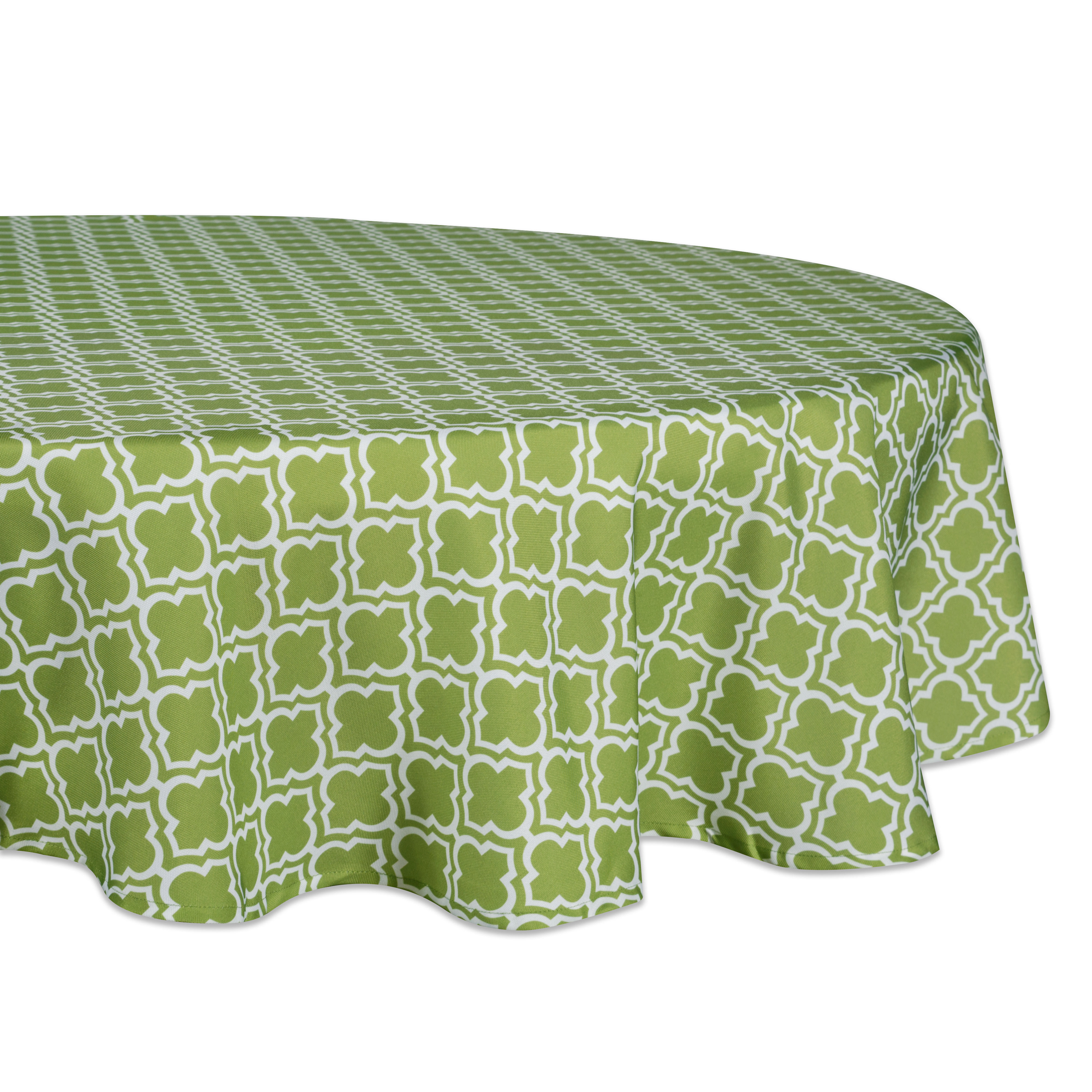 """Design Imports Casual Round Lattice Outdoor Tablecloth, 60"""" x 60"""", 100% Polyester, Green"""