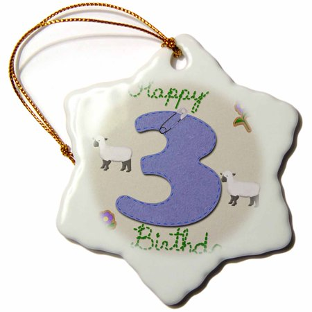3dRose Happy third birthday. Digital scrapbook design for boys features a blue felt looking number three. , Snowflake Ornament, Porcelain, 3-inch