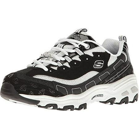 Skechers Women's D'Lites Be Dazzling Sneaker,BlackWhite,US 6.5 M
