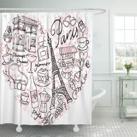 - KSADK Pink Eiffel Paris Doodle in Heart Shape Sketch Tower Clipart Sweet Couple Holiday Shower Curtain 66x72 inch