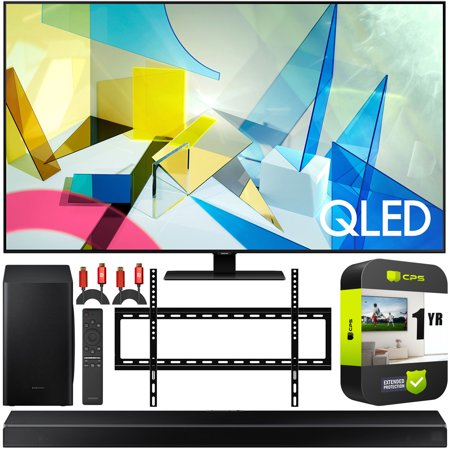 Samsung 85 QN85Q80TA Q80T QLED 4K UHD HDR Smart TV 2020 Theater Surround Sound Bundle with Samsung HW-Q60T 5.1ch Soundbar + Wall Mount + 2 x Deco Gear HDMI Cables + 1 Year Extended Protection