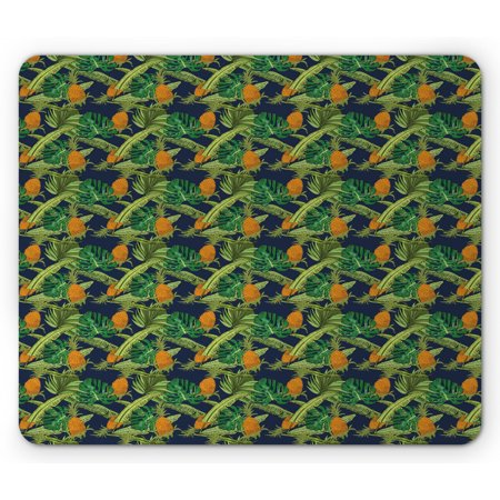Tropical Mouse Pad, Natural Theme Exotic Pineapples with Monstera and Banana Leaves, Rectangle Non-Slip Rubber Mousepad, Dark Blue Green and Orange, by Ambesonne Natural Pineapple Banana