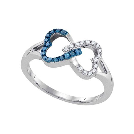 Size 7 - 925 Sterling Silver Round Blue Diamond Double Linked Heart Ring 1/6 Cttw
